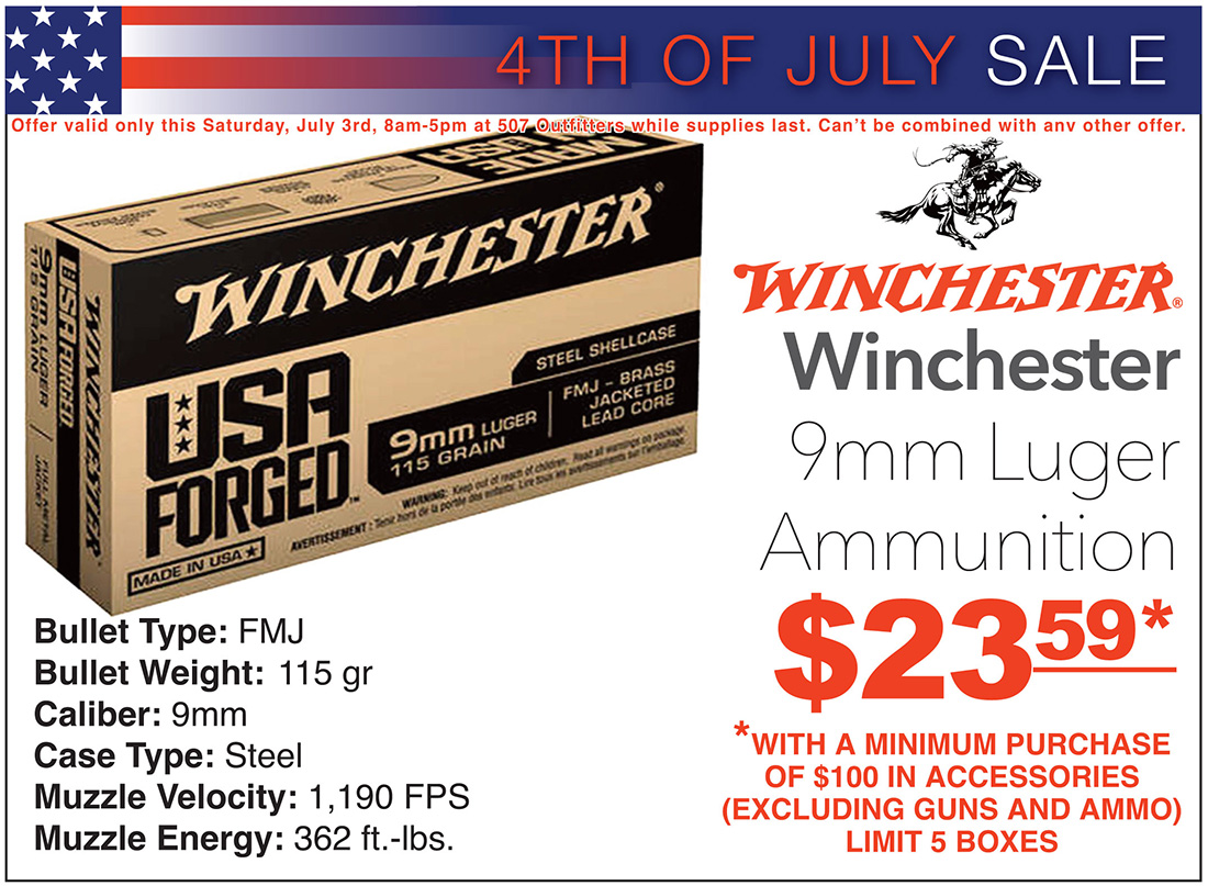 Winchester 9mm ammo sale at 507 Outfitters
